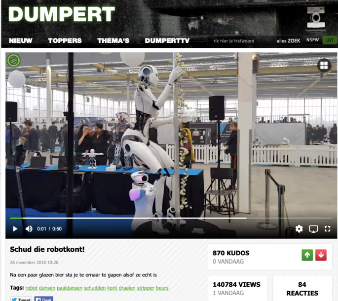 dumpert screenshot van robotkont dance cyborg